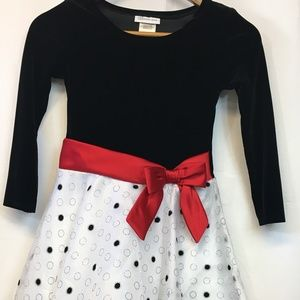 Bonnie Jean Girls Dress Black and White Polka Dots